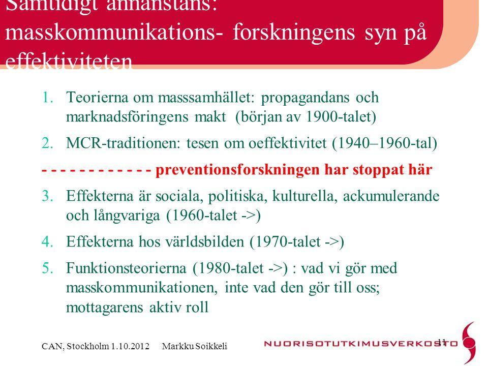 Samtidigt annanstans: masskommunikations- forskningens syn på effektiviteten
