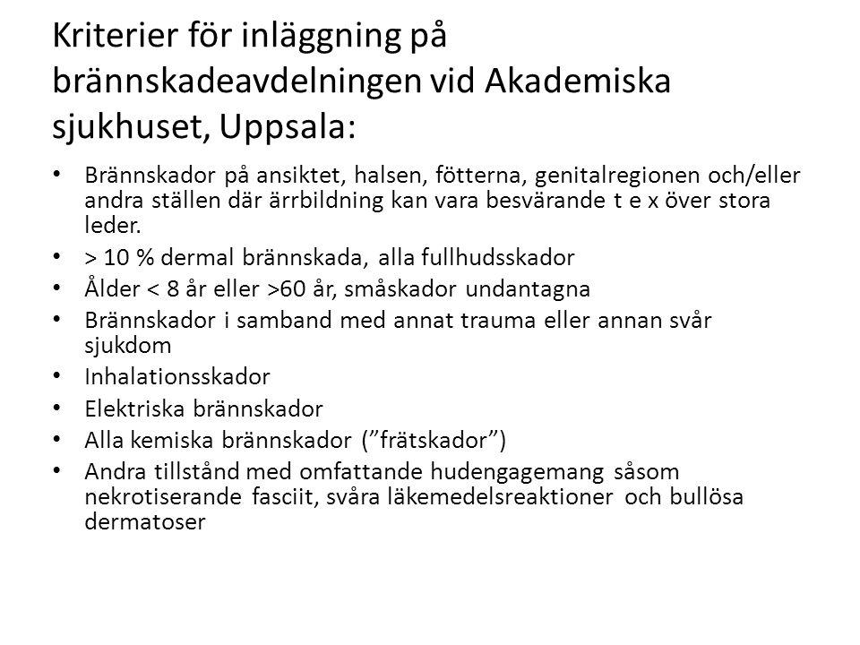 Kriterier för inläggning på brännskadeavdelningen vid Akademiska sjukhuset, Uppsala: