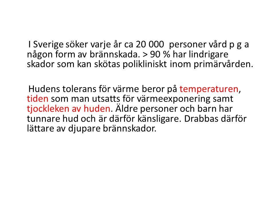 I Sverige söker varje år ca 20 000 personer vård p g a någon form av brännskada.