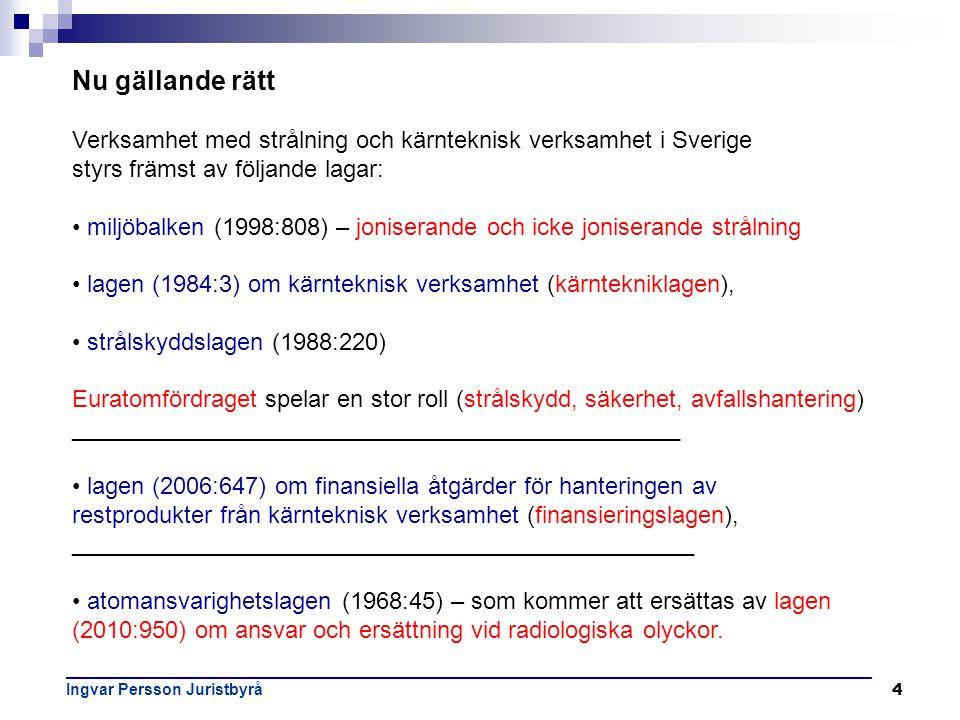 Nu gällande rätt Verksamhet med strålning och kärnteknisk verksamhet i Sverige. styrs främst av följande lagar: