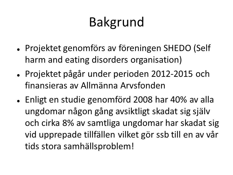 Bakgrund Projektet genomförs av föreningen SHEDO (Self harm and eating disorders organisation)