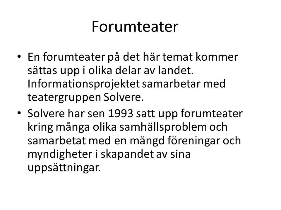 Forumteater En forumteater på det här temat kommer sättas upp i olika delar av landet. Informationsprojektet samarbetar med teatergruppen Solvere.