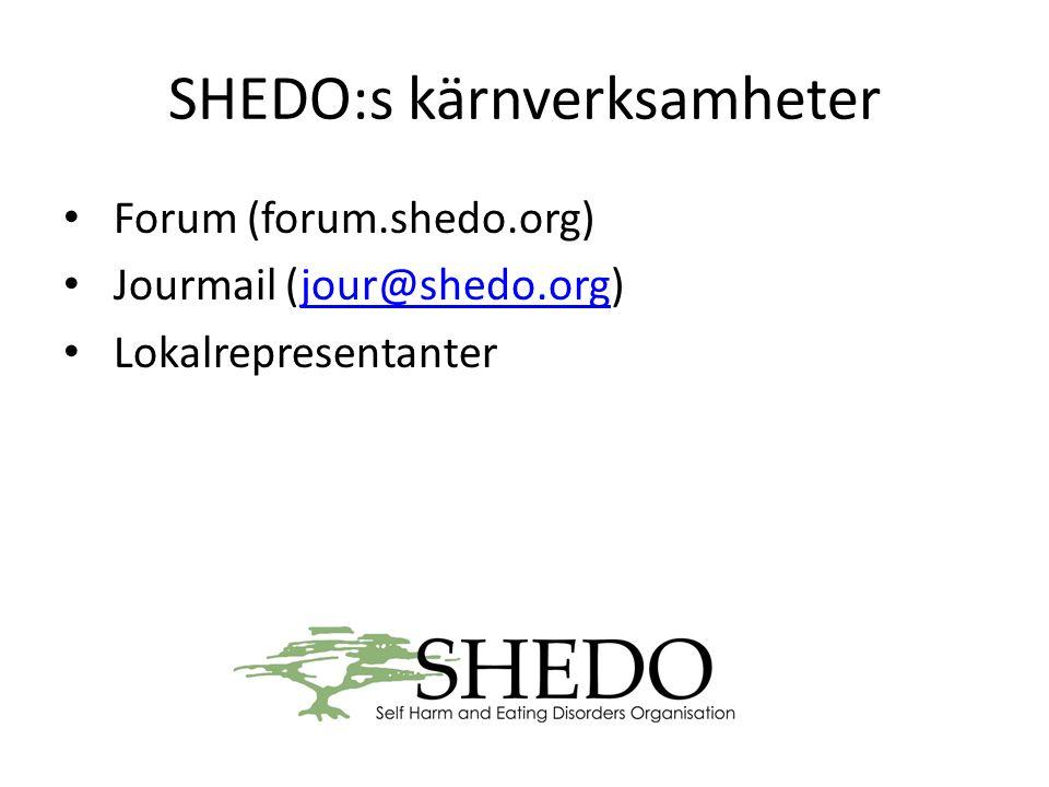SHEDO:s kärnverksamheter