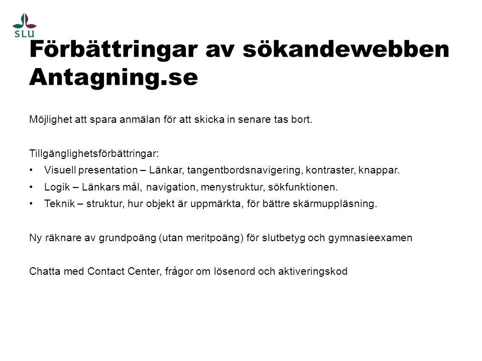 Förbättringar av sökandewebben Antagning.se