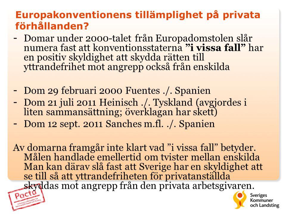 Europakonventionens tillämplighet på privata förhållanden