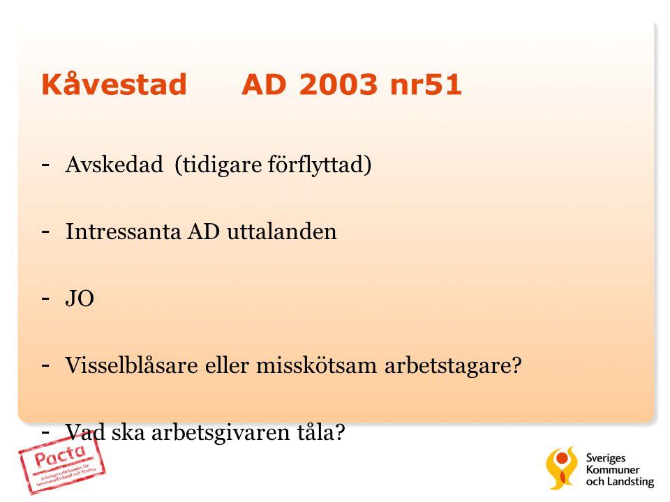 Kåvestad AD 2003 nr51 Avskedad (tidigare förflyttad)