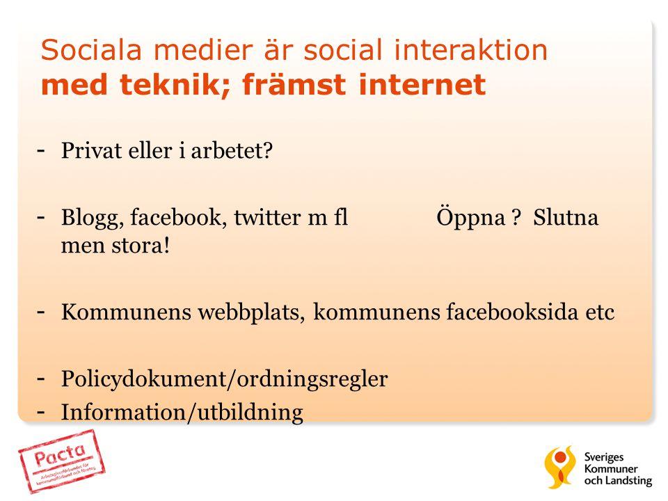 Sociala medier är social interaktion med teknik; främst internet