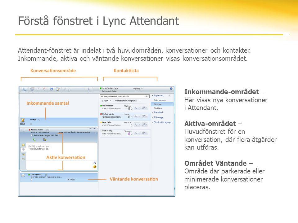 Förstå fönstret i Lync Attendant