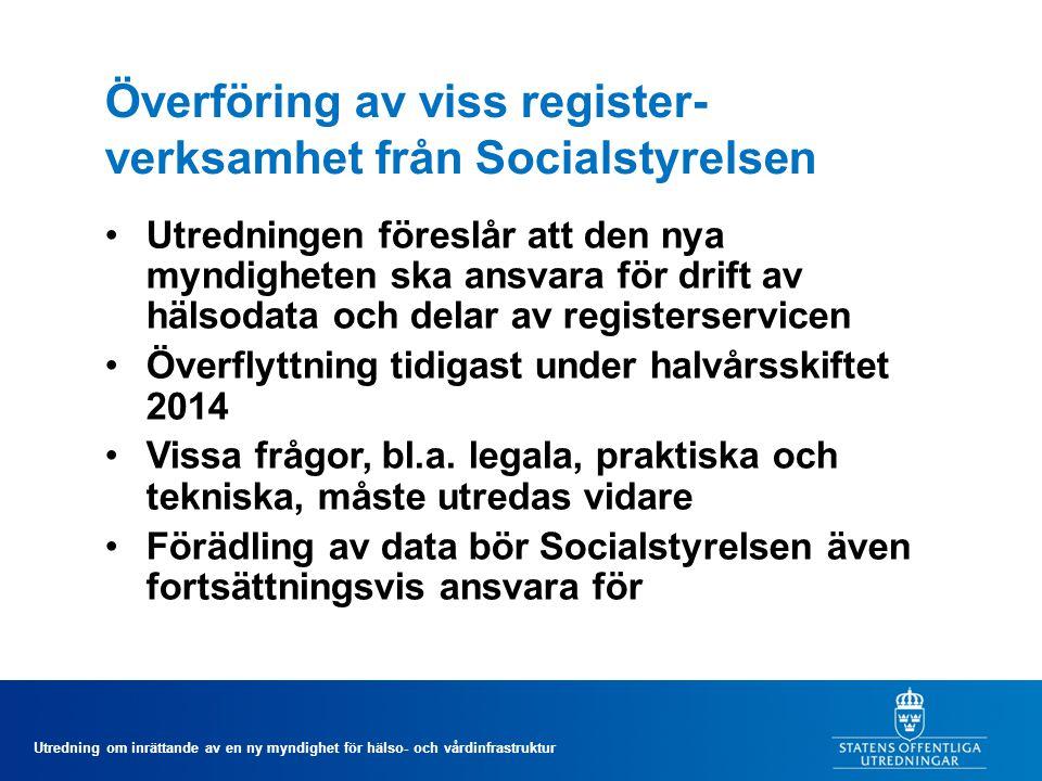 Överföring av viss register-verksamhet från Socialstyrelsen