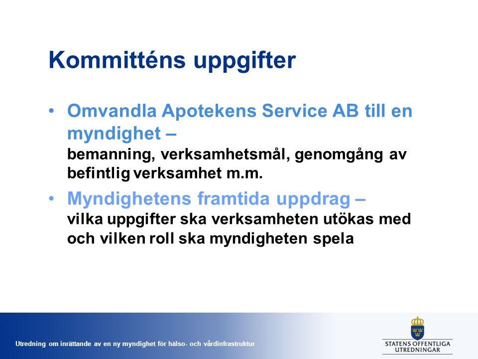 Kommitténs uppgifter Omvandla Apotekens Service AB till en myndighet – bemanning, verksamhetsmål, genomgång av befintlig verksamhet m.m.