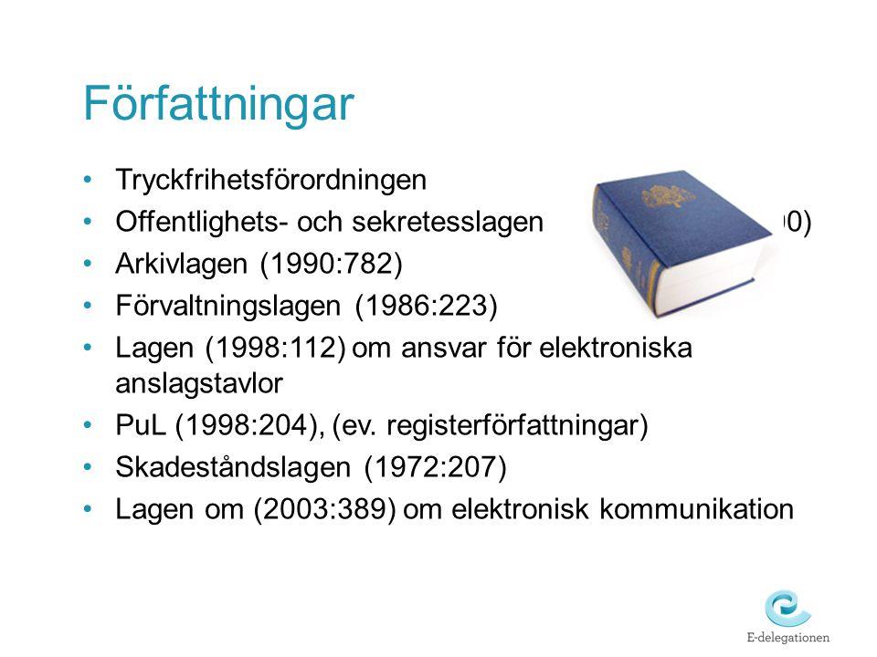 Författningar Tryckfrihetsförordningen