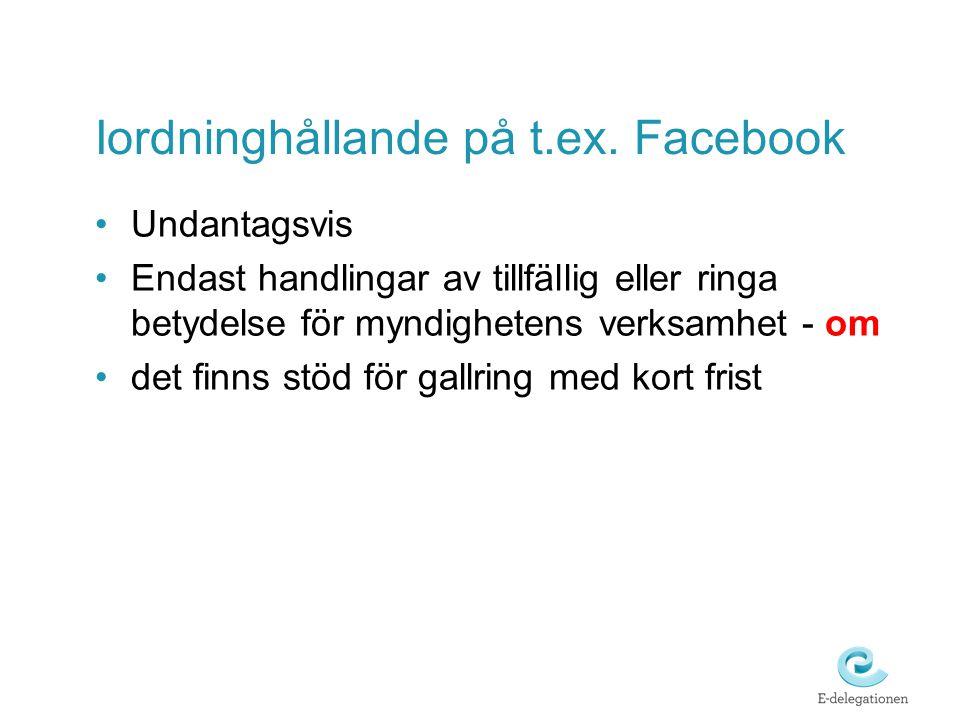 Iordninghållande på t.ex. Facebook