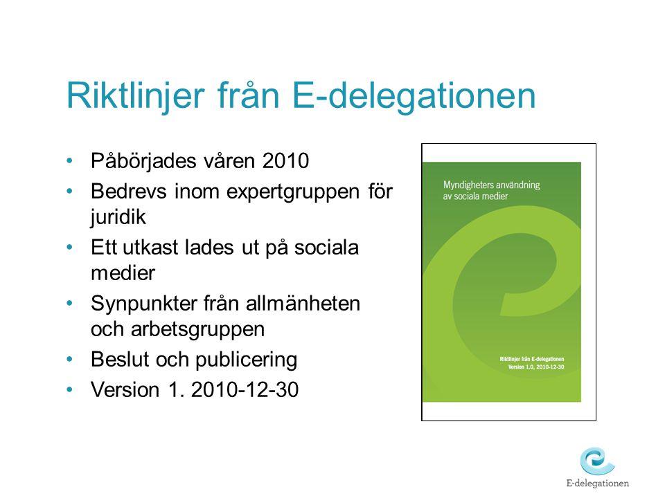 Riktlinjer från E-delegationen
