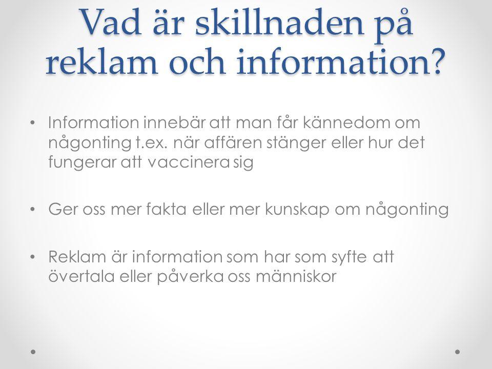 Vad är skillnaden på reklam och information