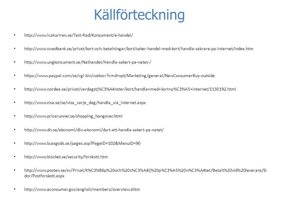 Källförteckning http://www.icakuriren.se/Test-Rad/Konsument/e-handel/