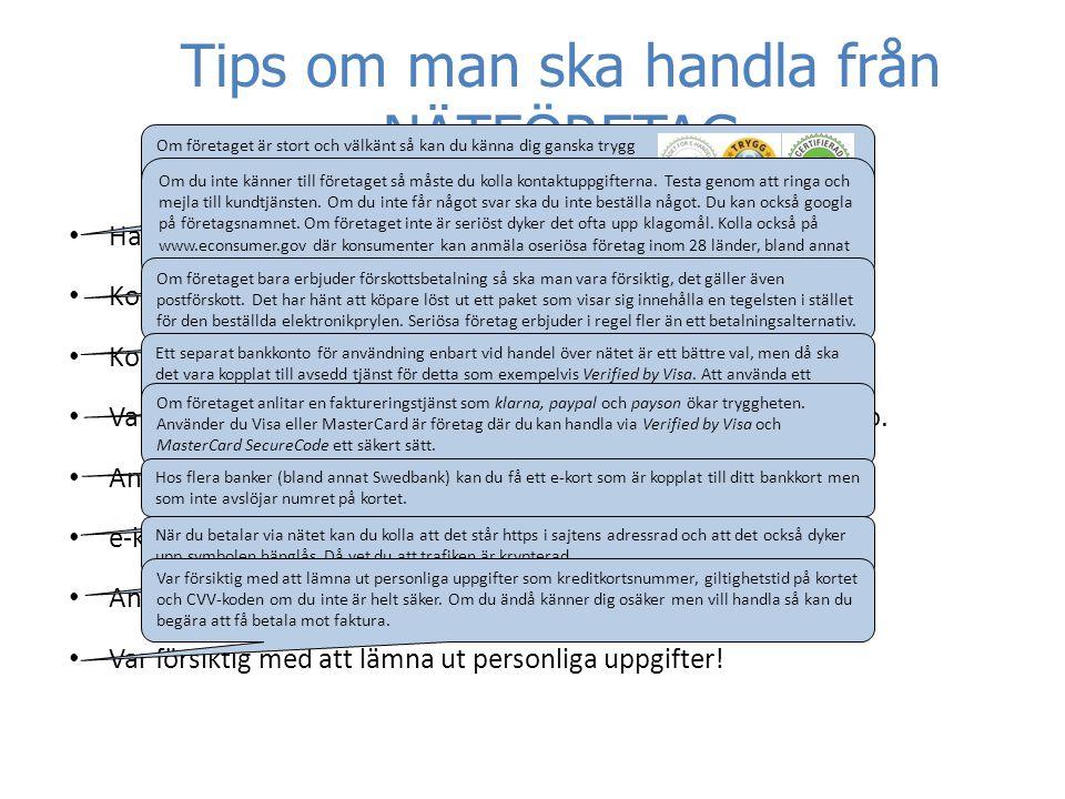 Tips om man ska handla från NÄTFÖRETAG