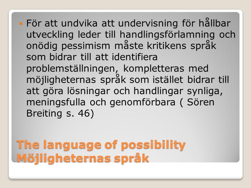 The language of possibility Möjligheternas språk