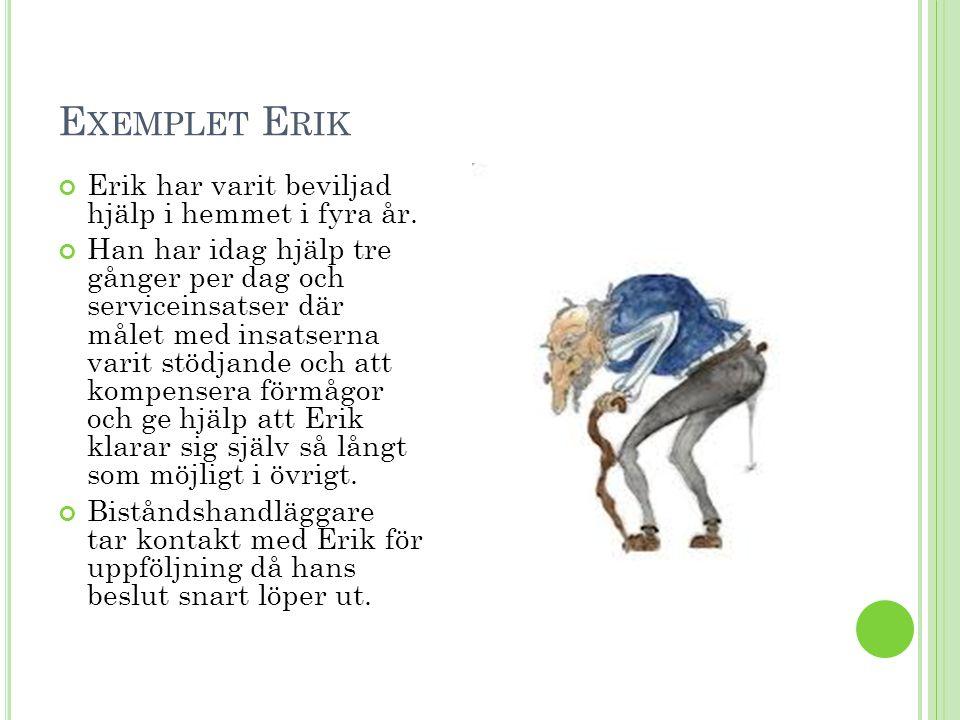 Exemplet Erik Erik har varit beviljad hjälp i hemmet i fyra år.
