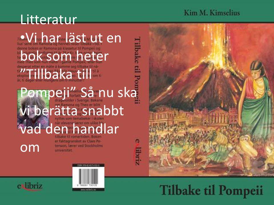 Litteratur Vi har läst ut en bok som heter Tillbaka till Pompeji Så nu ska vi berätta snabbt vad den handlar om.