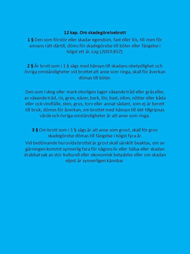 12 kap. Om skadegörelsebrott