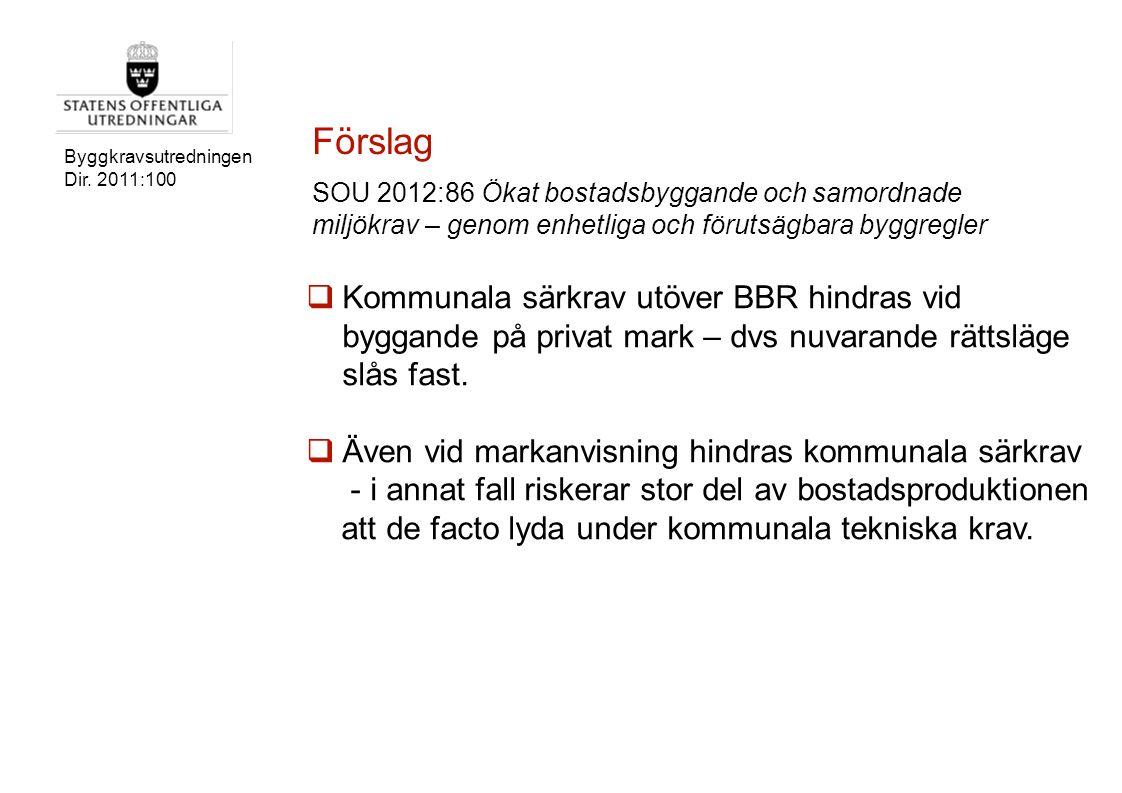 Förslag SOU 2012:86 Ökat bostadsbyggande och samordnade miljökrav – genom enhetliga och förutsägbara byggregler.