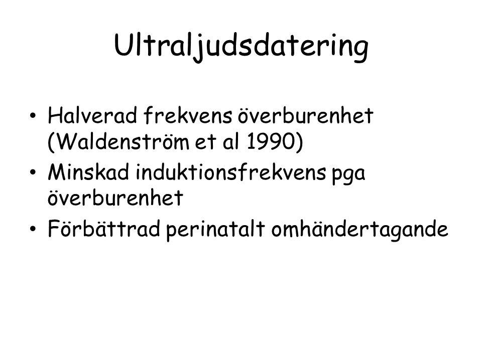 Ultraljudsdatering Halverad frekvens överburenhet (Waldenström et al 1990) Minskad induktionsfrekvens pga överburenhet.