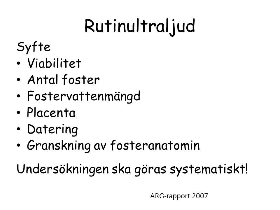 Rutinultraljud Syfte Viabilitet Antal foster Fostervattenmängd