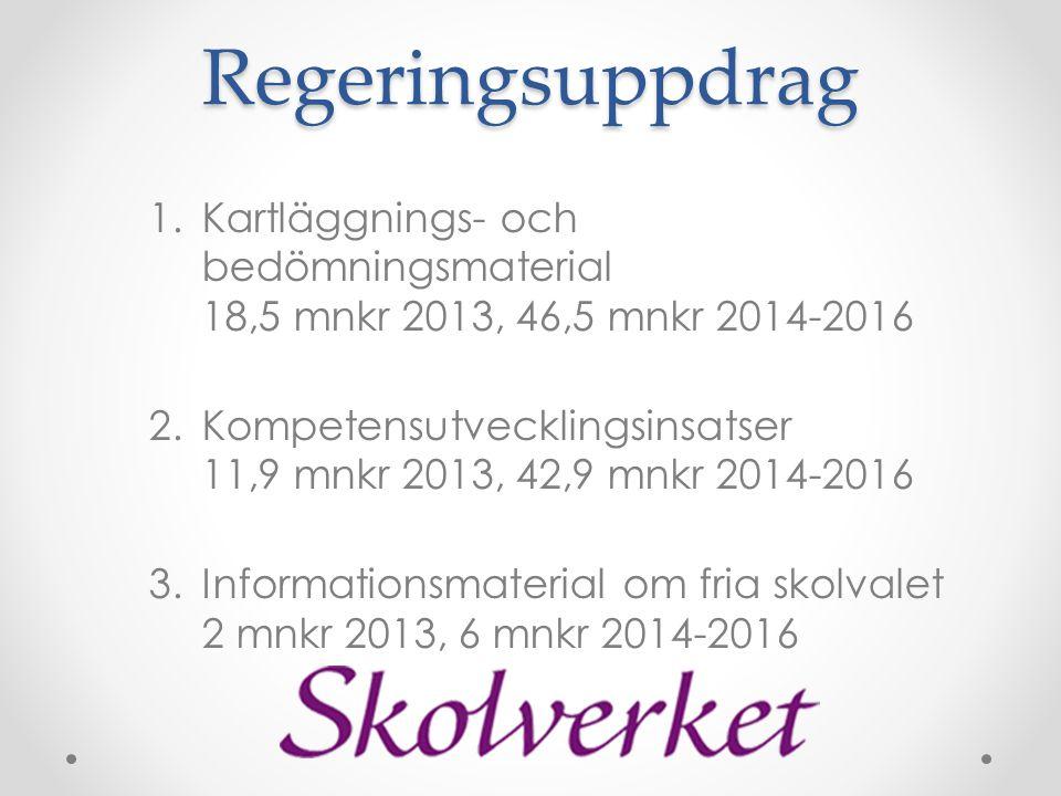 Regeringsuppdrag Kartläggnings- och bedömningsmaterial 18,5 mnkr 2013, 46,5 mnkr 2014-2016.