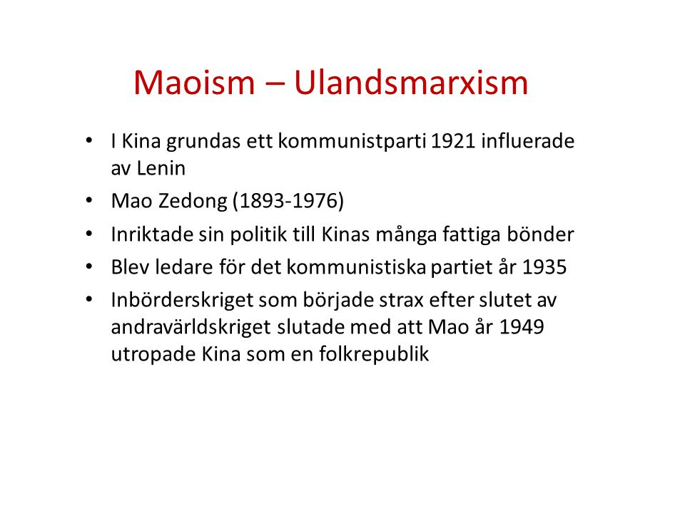 Maoism – Ulandsmarxism