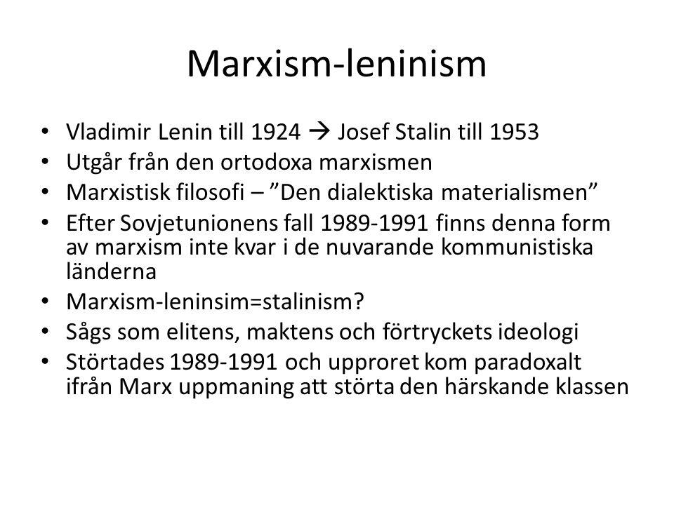 Marxism-leninism Vladimir Lenin till 1924  Josef Stalin till 1953