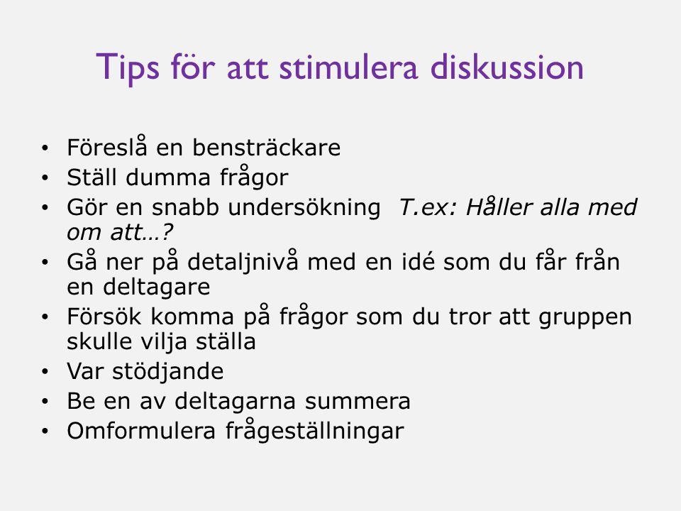 Tips för att stimulera diskussion