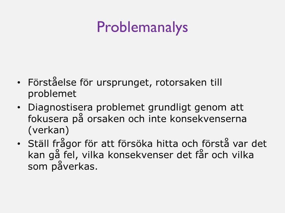 Problemanalys Förståelse för ursprunget, rotorsaken till problemet