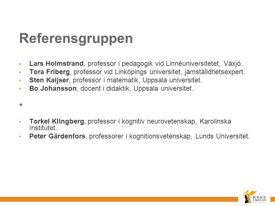 Referensgruppen Lars Holmstrand, professor i pedagogik vid Linnéuniversitetet, Växjö.