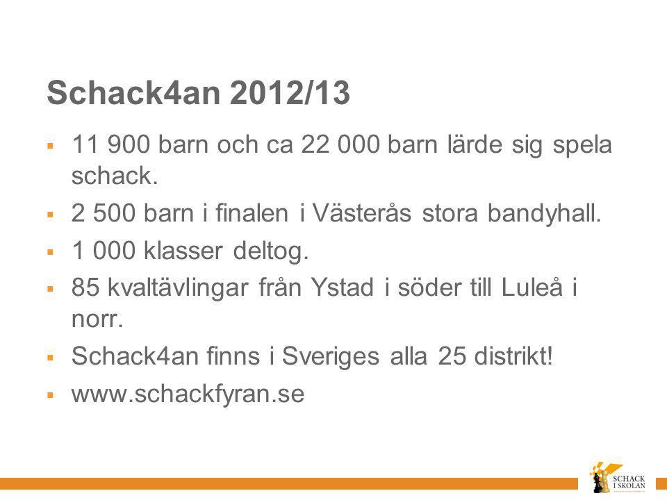 Schack4an 2012/13 11 900 barn och ca 22 000 barn lärde sig spela schack. 2 500 barn i finalen i Västerås stora bandyhall.