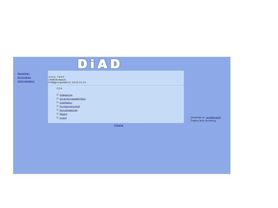 Olika delar av CDK registrering
