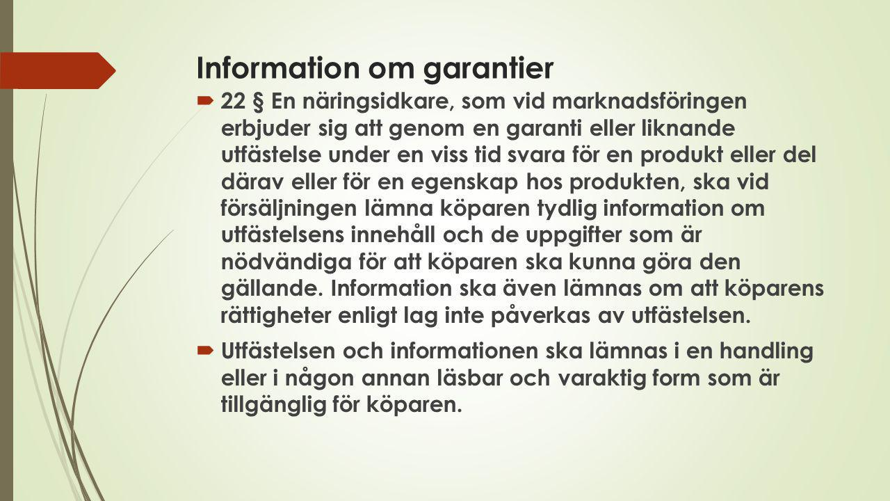 Information om garantier