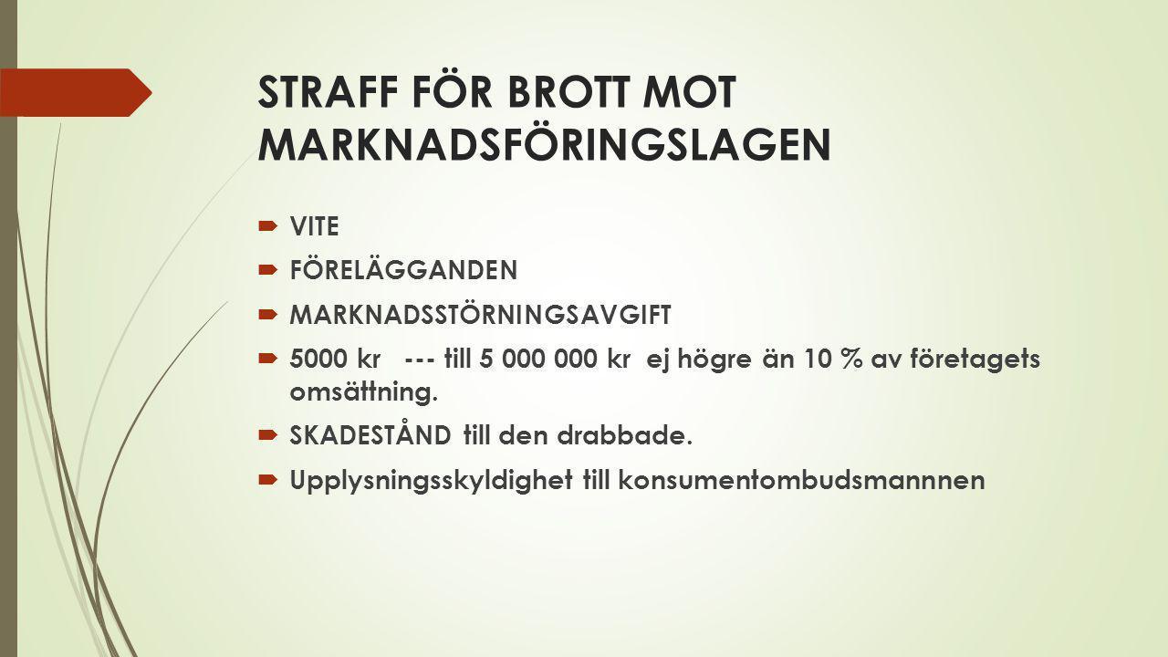 STRAFF FÖR BROTT MOT MARKNADSFÖRINGSLAGEN
