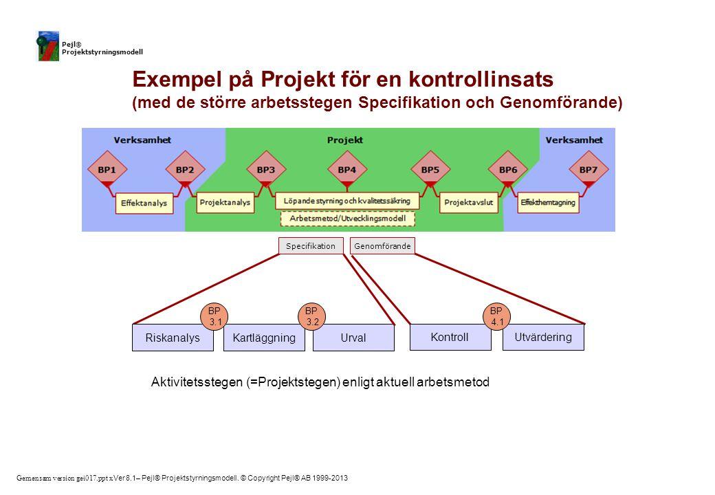 Riskanalys Kartläggning. Urval. BP. 3.1. 3.2. Kontroll. Aktivitetsstegen (=Projektstegen) enligt aktuell arbetsmetod.