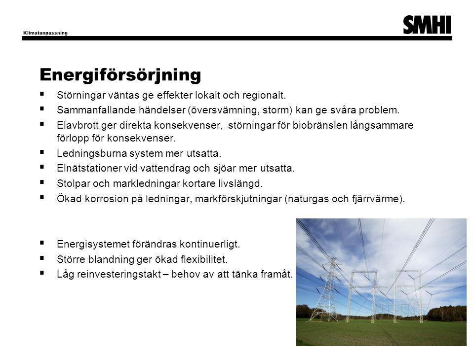 Energiförsörjning Störningar väntas ge effekter lokalt och regionalt.