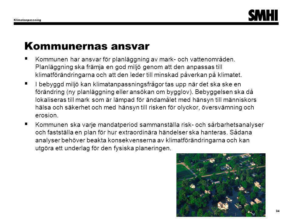 Klimatanpassning Kommunernas ansvar.