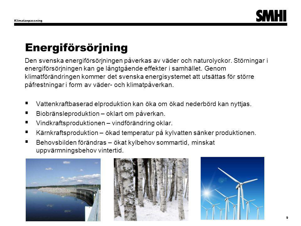 Klimatanpassning Energiförsörjning.