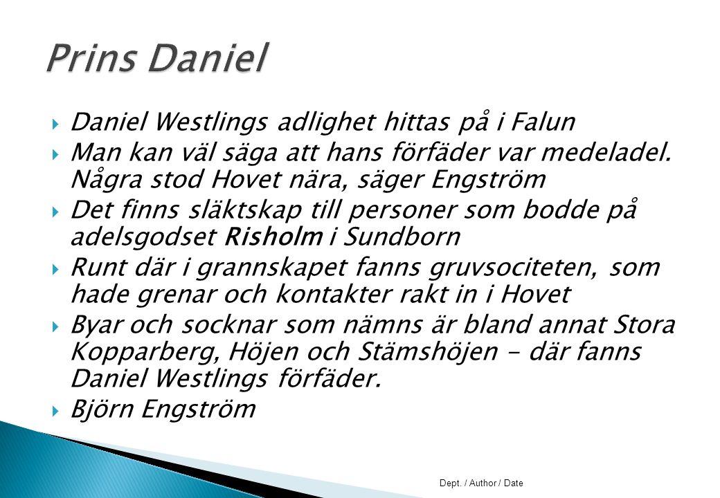 Prins Daniel Daniel Westlings adlighet hittas på i Falun