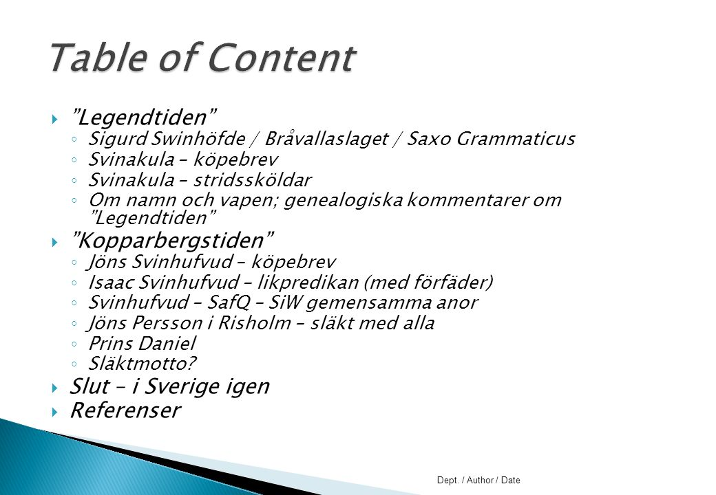 Table of Content Legendtiden Kopparbergstiden