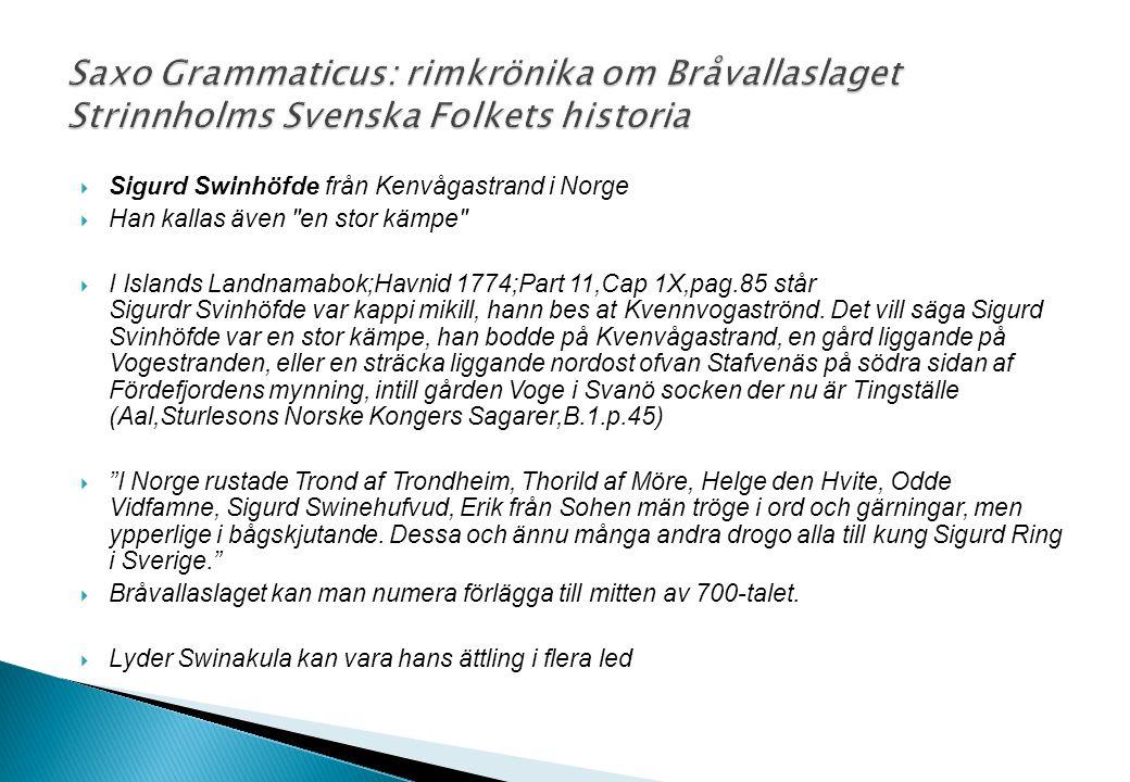 Saxo Grammaticus: rimkrönika om Bråvallaslaget Strinnholms Svenska Folkets historia
