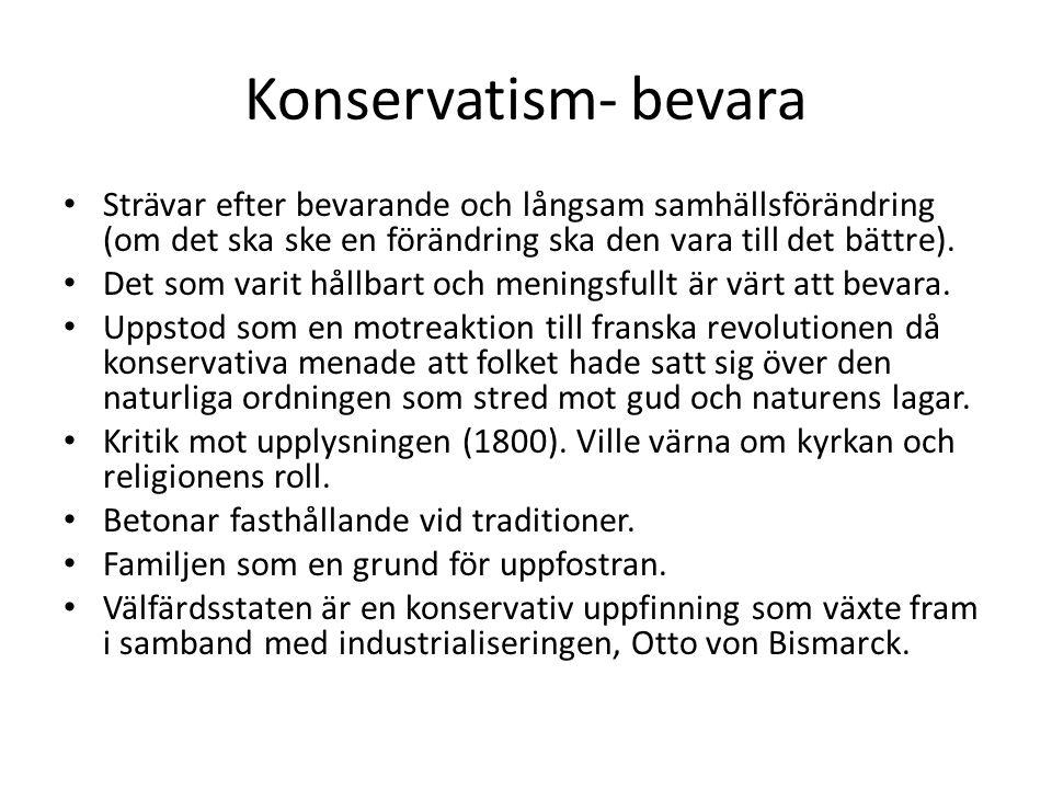 Konservatism- bevara Strävar efter bevarande och långsam samhällsförändring (om det ska ske en förändring ska den vara till det bättre).