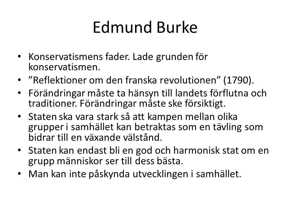 Edmund Burke Konservatismens fader. Lade grunden för konservatismen.