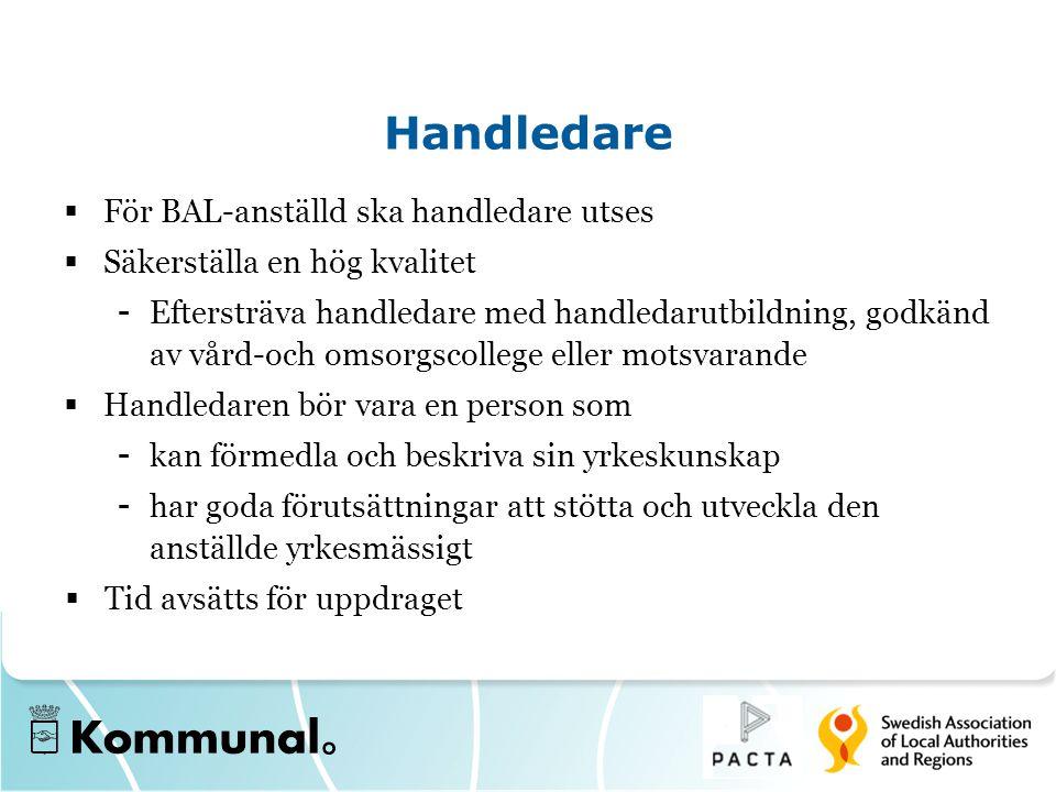 Handledare För BAL-anställd ska handledare utses