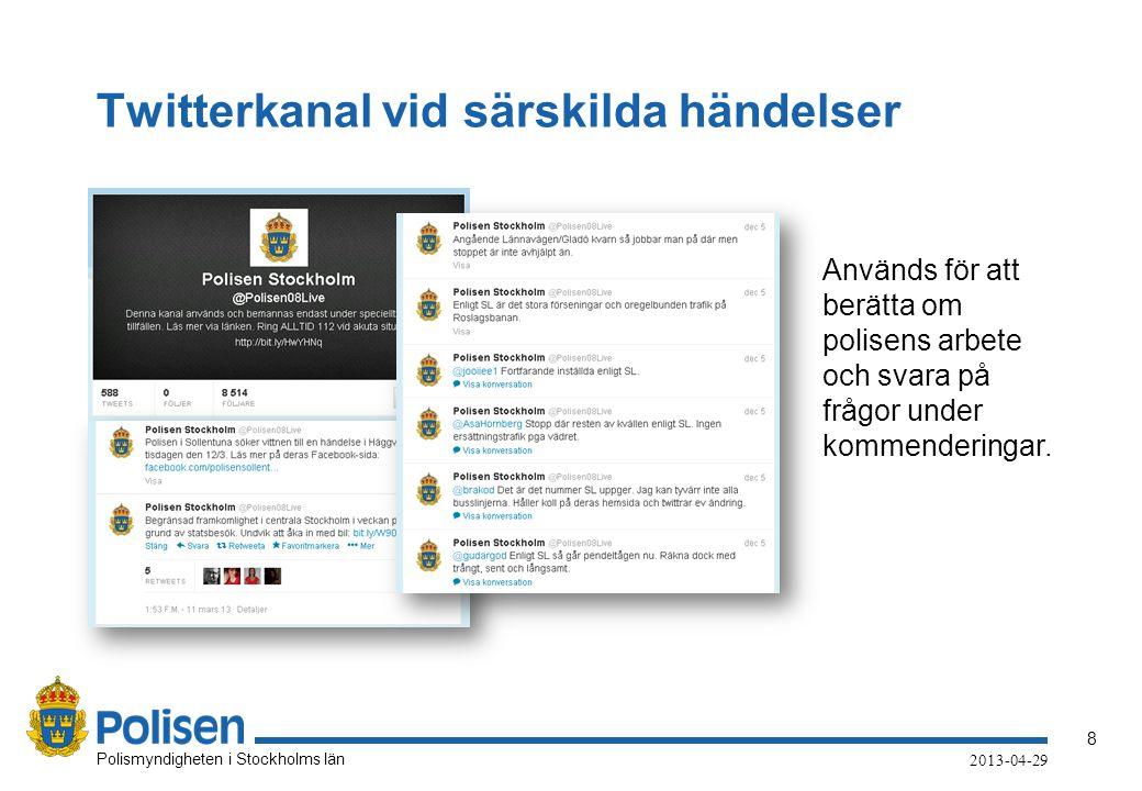Twitterkanal vid särskilda händelser
