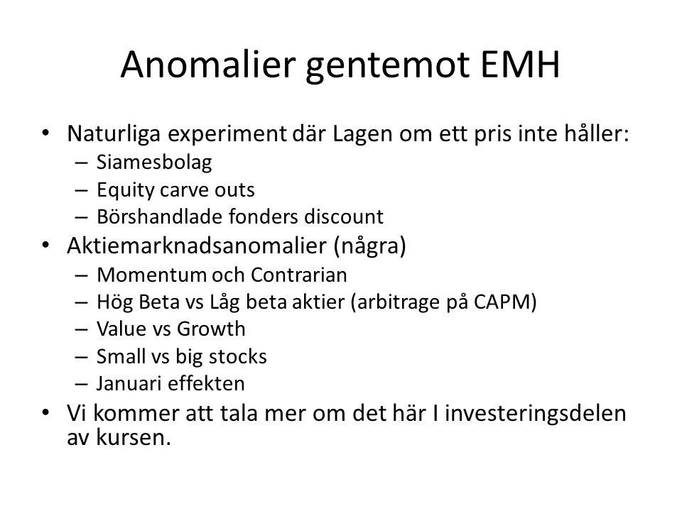 Anomalier gentemot EMH