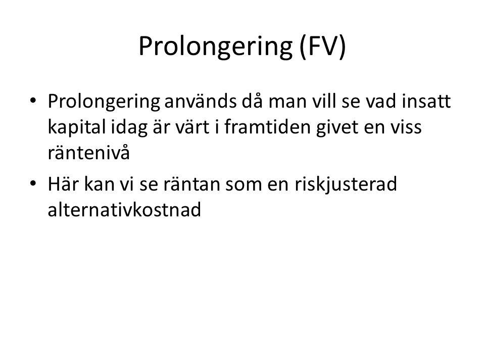 Prolongering (FV) Prolongering används då man vill se vad insatt kapital idag är värt i framtiden givet en viss räntenivå.